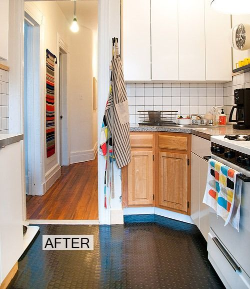 Before And After A Kitchen Floor Gets Rubber Makeover