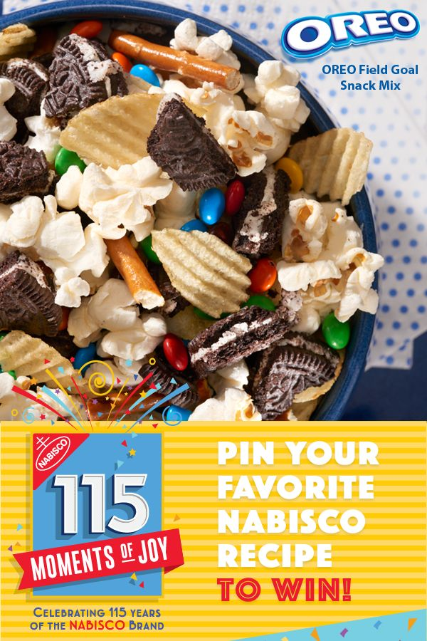 Learn more at recipes.Nabisco115Moments.com! Pin Your Favorite NABISCO recipe for a chance to win $115…winner every day. All it takes to make OREO Field Goal Snack Mix are your favorite snacks and a home full of hungry guests. Combine chopped-up OREO Cookies with potato chips, popcorn, pretzel sticks and candy-coated chocolate pieces, and you'll be enjoying the game-day goodness before you know it.