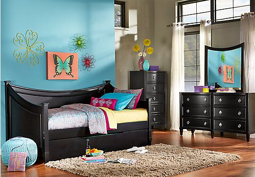 picture of Jaclyn Place Black 3 Pc Daybed Bedroom  from Teen Bedroom Sets Furniture