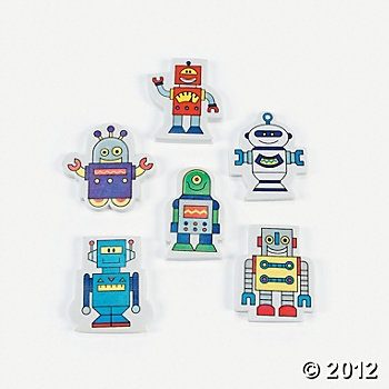 Robot erasers as party favors