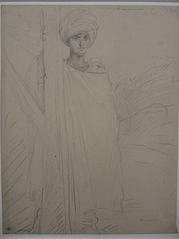 CHASSERIAU Théodore,1846 - Arabe coiffé d'un Turban, debout contre un Arbre - drawing.