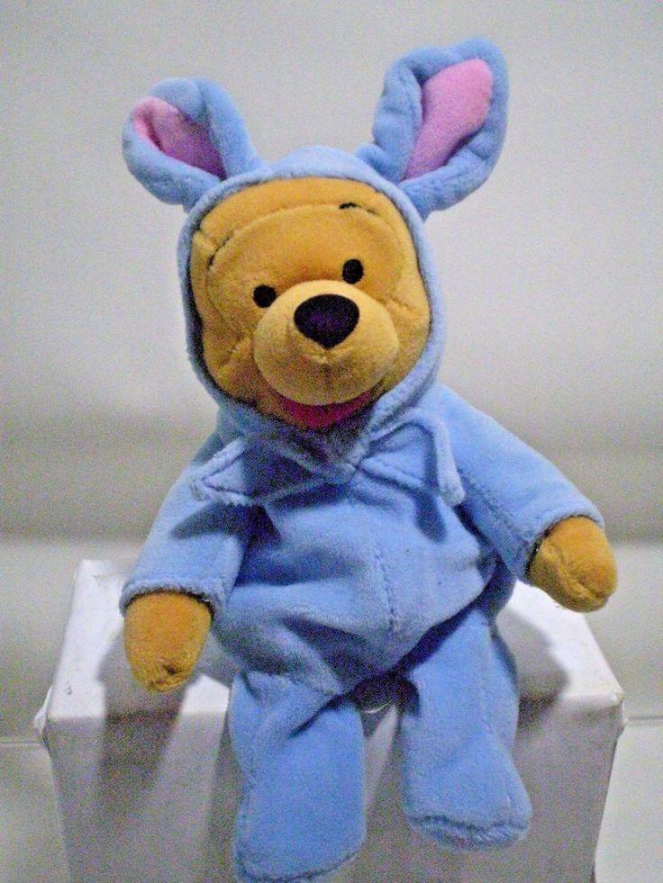 Disney Winnie Pooh Bear Easter Bunny Soft Stuffed Plush Toy Animal Bean Bag #Disney