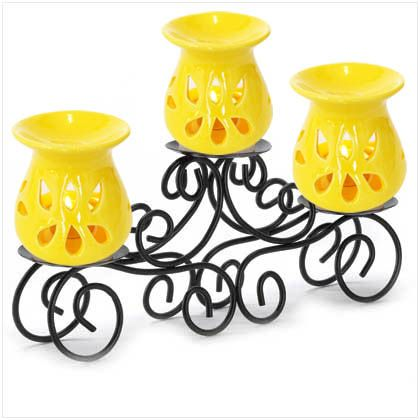 These Beautifully handcrafted yellow designed and stylish ceramic oil burner work with any decor . for use with our home fragrance oil . to elegantly scent and accessories your home.