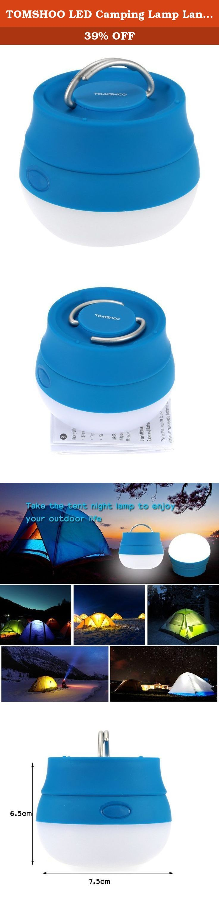 TOMSHOO LED Camping Lamp Lantern Outdoor Hiking Light Portable Tent Night Lamp with Handle. The camping lamp is lightweight and durable. It fits in the palm of your hand but lights up a room. Features: Lightweight, compact and durable. Suitable for camping, reading, fishing, car repairs and other outdoor activities. Fits in the palm of your hand but lights up a room. Equipped with a flexible handle, easy to hang or carry around. Handle is perfect for hanging in your tent or any other area...