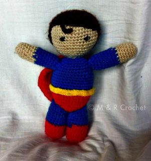 Your little (or big) person will love taking their Super Hero with them. Superman is made by M & R Crochet using 100% acrylic yarn. He is soft-stuffed to make him nice and cuddly and is just the right size to be taken anywhere. He stands approx 23cm tall with an arm span of approx 20cm. Price includes post.