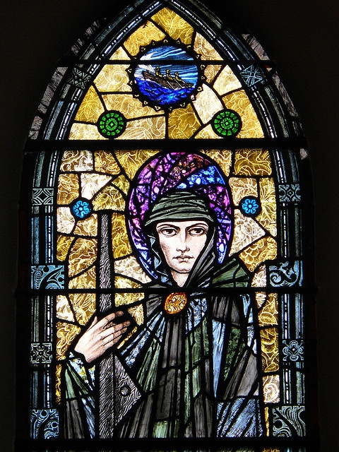 Detail of St. Brendan, stained glass in Tullamore Church. (1928)Glasses Stained, Glasses Art, Glasses Windows, Details 1928, Stainedglass Windows, Stained Vitral, Glorious Glasses, Stained Glasses, Art Glasses