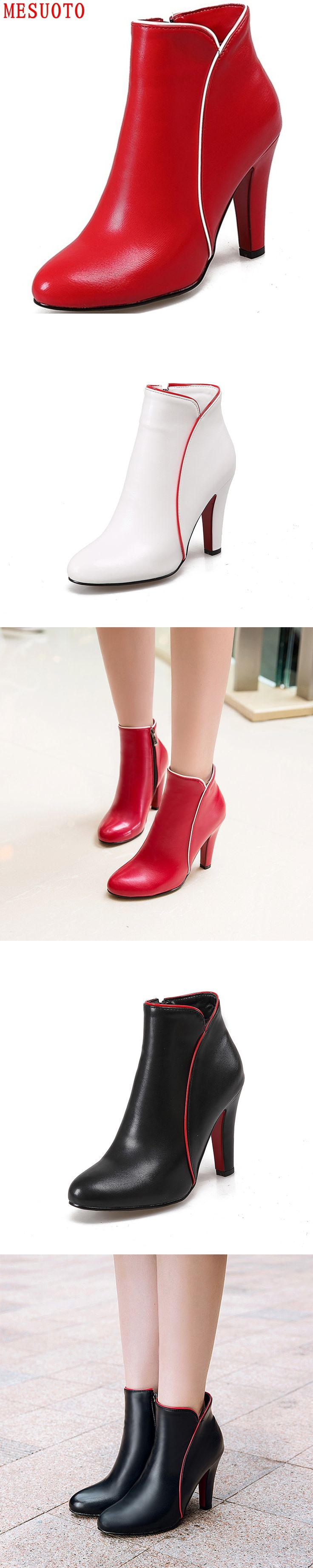 MESUOTO Quality Faux Leather Zip Thick High Heel Fashion Style Womens Ankle Boots Autumn Elegant Ladies Shoes Bigger Size 43