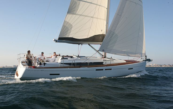 """Sun Odyssey 409   """"The new Philippe Briand designed Sun Odyssey 409 is not only elegant, but also built for speed. A modern hull with a hard chine and excellent stability makes the Sun Odyssey 409 a pleasure to sail.""""   jeanneau.com"""
