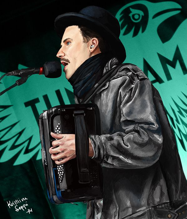 Singer Janne Masalin of Tundramatiks. Painted in 2014.