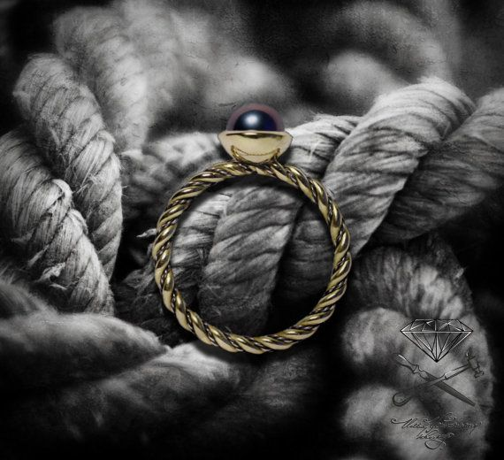 Lost Russian classic sea rope ring от Ustuzhanine на Etsy