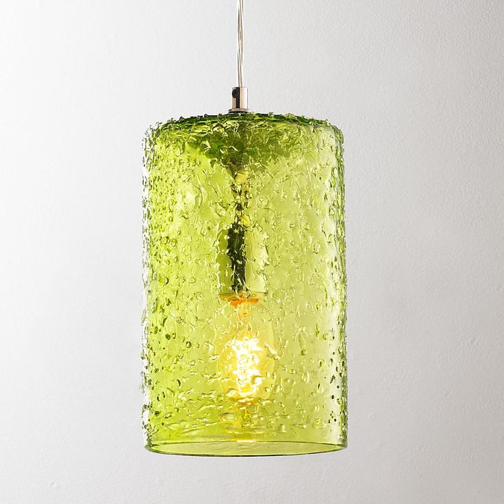 Pebbled Glass Cylinder Pendant