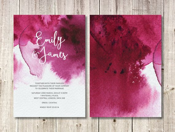 Pink Watercolour Invitation, RSVP Card and Wishing Well Card