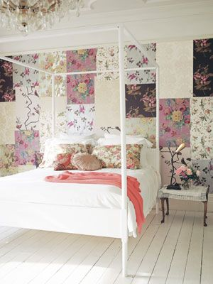 Give a blank wall big personality by layering wallpaper remnants or samples. #decoratingideas #walldecor