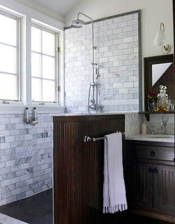 •Subway Tile wall--House Beautiful •Rain shower and handheld shower bar