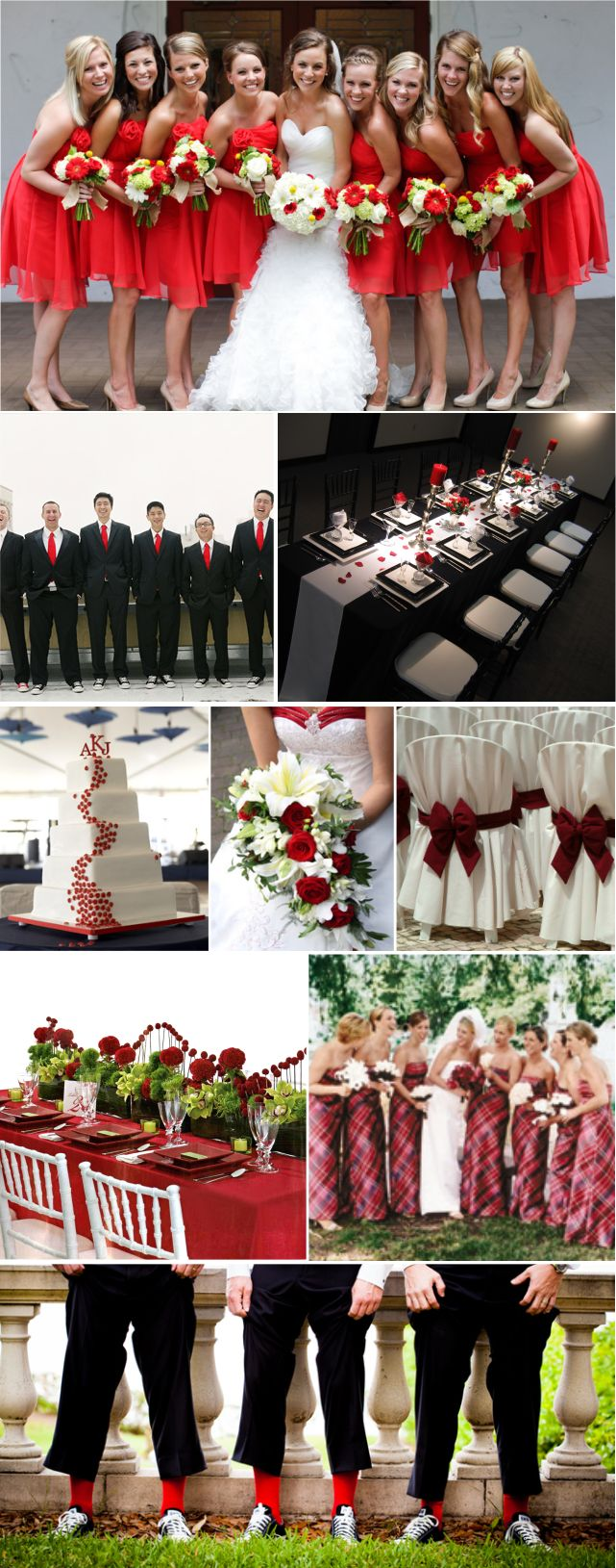 It's a Redding Wedding! Get it? We could wear red dresses. With pink peonies, green succulents, and tiger lilies.