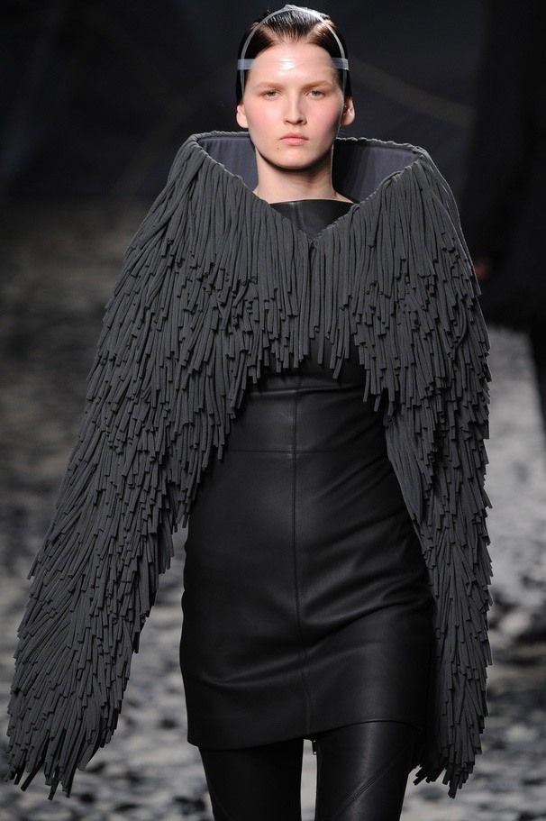 Sculptural Fashion - black textured wing jacket; creative fashion // Gareth Pugh Fall 2012
