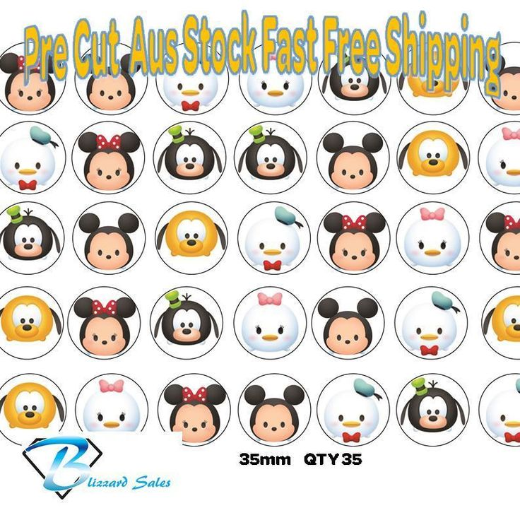35x Disney Tsum Tsum Cupcake Toppers Edible Icingor  Wafer Precut 35mm Cake #BlizzardToppers #Birthday