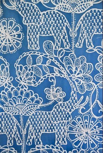 blue paisley elephant | Luli Sanchez Textiles