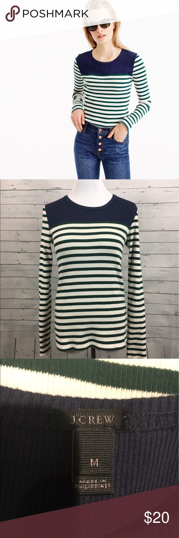 """J.Crew placed striped rubber t-shirt blue green Women's J.CREW Placed-striped rib t-shirt size medium.   armpit to armpit-17"""" overall length-24.5"""" J. Crew Tops Tees - Long Sleeve"""