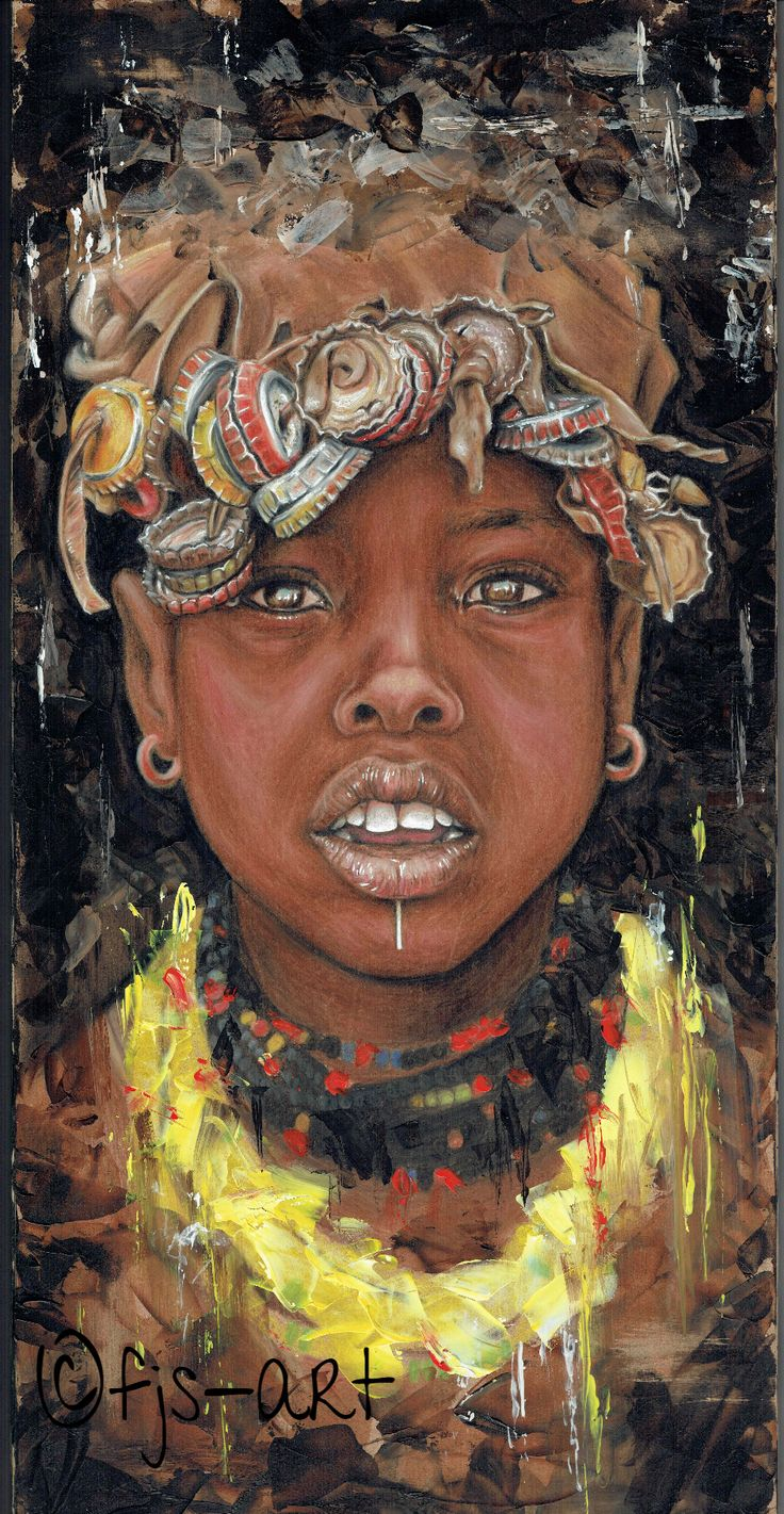 "NZ/NL Artist: FJS-Art - Pencil drawing & acrylic painting on hardboard - ""african girl"" - Faces of the world - africa - home decoration - eyes - how to inspire - wallART - www.fjs-art.com #art #artist #drawing #Ethiopië #tribe #artist portrait"