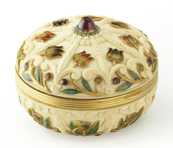 Antique French ivory, enamel and gold powder case by Boucheron circa 1880, 2¼ x 2 ins