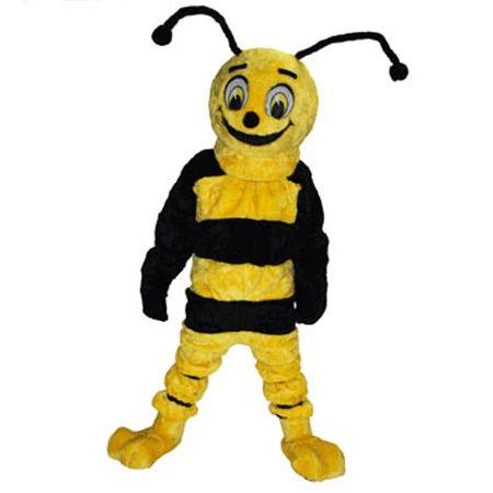 Luxe mascotte bij. Een prachtig geel-zwarte luxe mascotte van een vrolijke bij. De kop zit los van het lichaam waardoor deze makkelijk aan te trekken is. De luxe bijen mascotte is voorzien van een luchtcirculatiesysteem.