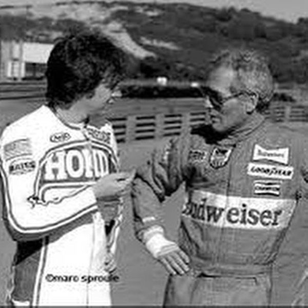 Fast Freddie and Paul Newman at Spencer's 1st test with the HRC race team via @Freddiespencer