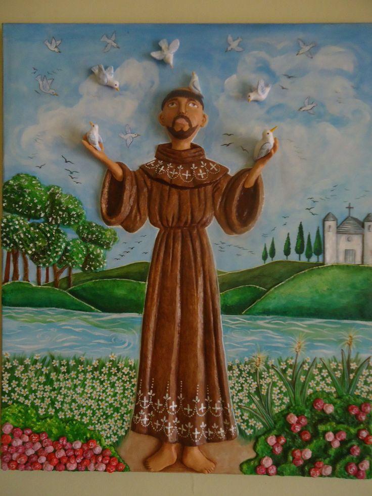 ***Tela-Painel com São Francisco de Assis - pássaros e flores em relevo de papel machê. <br>***Pintura e acabamento em resina acrílica. <br>***Obra de Ruiy Moura