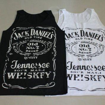 Brand new Women Jack Daniels tank top tee t-shirt black and white ... S-M Size