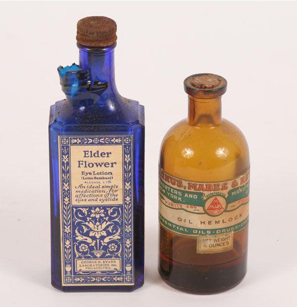 Essential Oils Botanicals Glass Bottles Antique 70