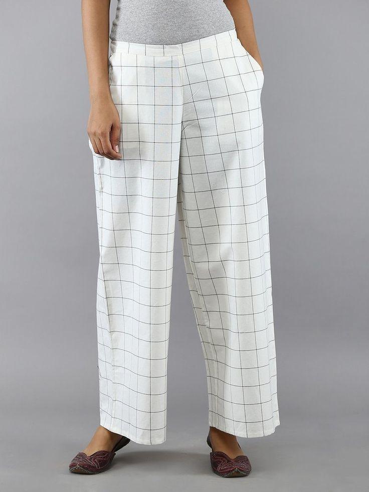 Off White with Black Checks Cotton Palazzo Pants