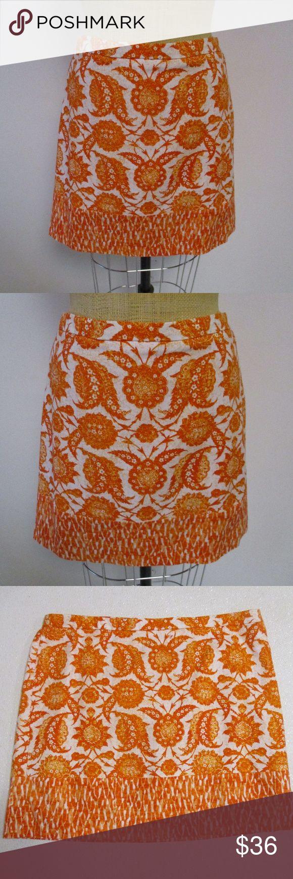 "Michael Kors Orange White Floral Skirt 14 Cute skirt from Michael Kors in size 14     Orange and white print     Straight style     Above knee length     98% cotton/2% elastane     Excellent condition     Machine washable cold     Waist- 35""  Hips- 45""  Length- 17.5"" Michael Kors Skirts Mini"