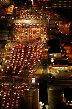 Aerial view of traffic congestion at Holland Tunnel at night, Hoboken, New Jersey, USA