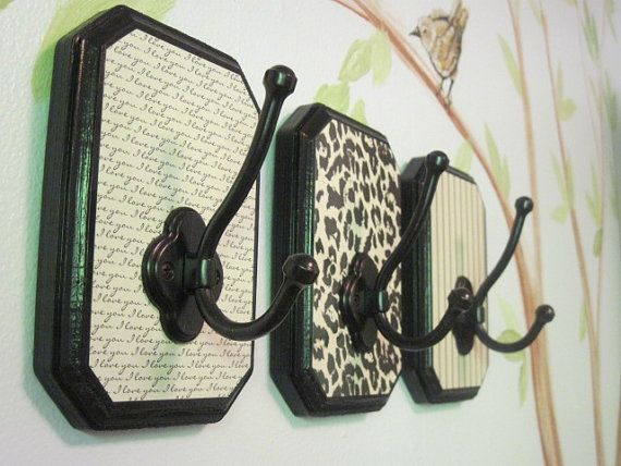 set of 3 coordinating decorative wall hooks cheetah print I Love You pinstripes perfect valentines day gift