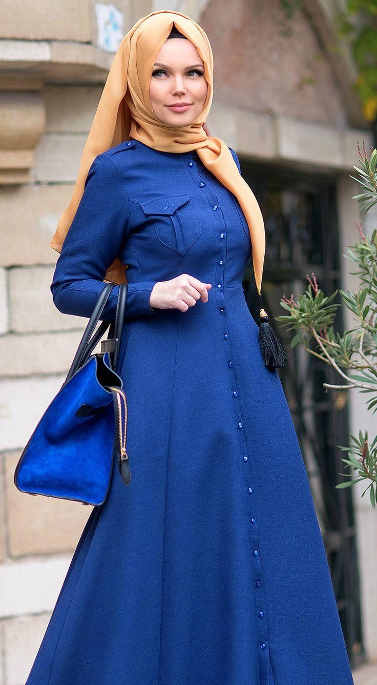 Muslima Wear 2016 Bouquet Navy blue Dress