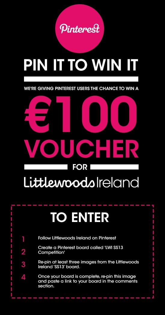 Follow the instructions for the chance to win a €100 Littlewoods Ireland voucher!