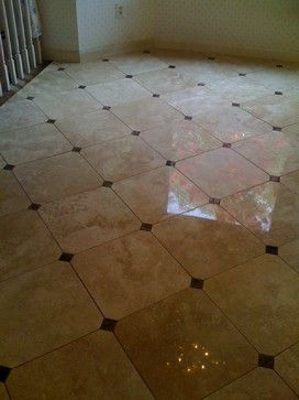 Diamond Pattern Floor Tile Design With All 4 Corners Clipped With 2 X 2  Accents Tile