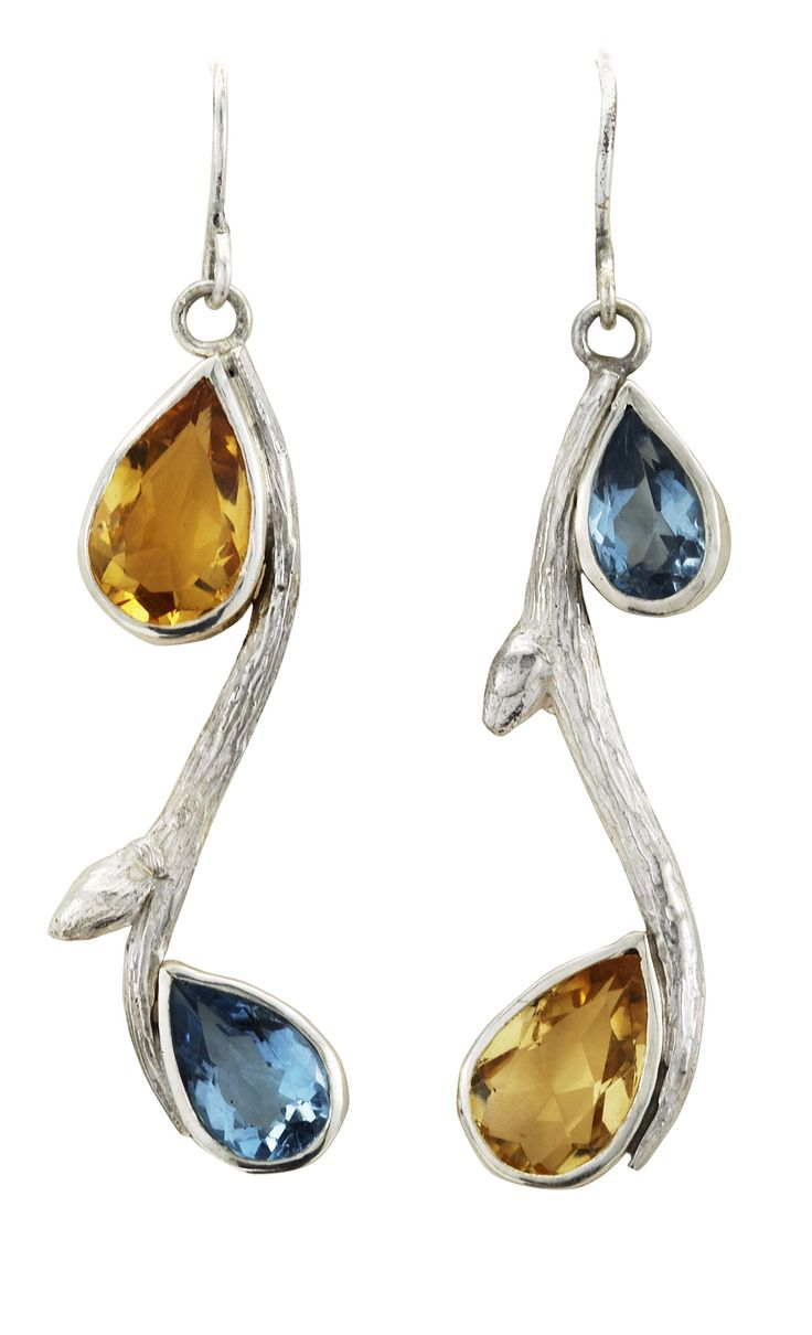 Topaz and Citrine Curved Sterling Branch Earrings