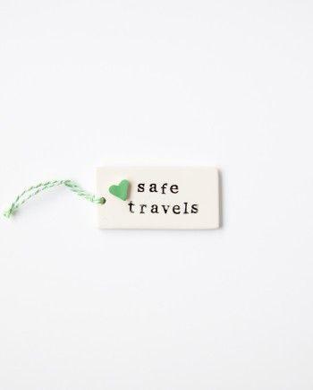 Coastal Studio Gift Tag Safe Travels Green
