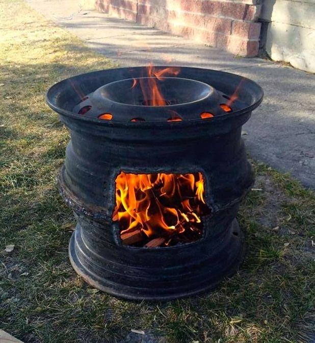 bålsted lavet ud af genbrug fælge fra bilhjul
