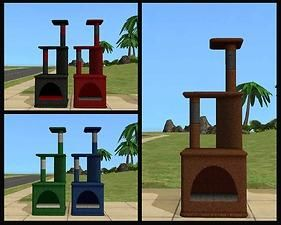 Mod The Sims - Maxis 'Los gatos Condominiums' and 'scratching post' recolours