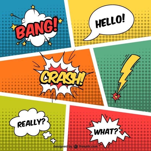 Speech bubbles in comic style Free Vector