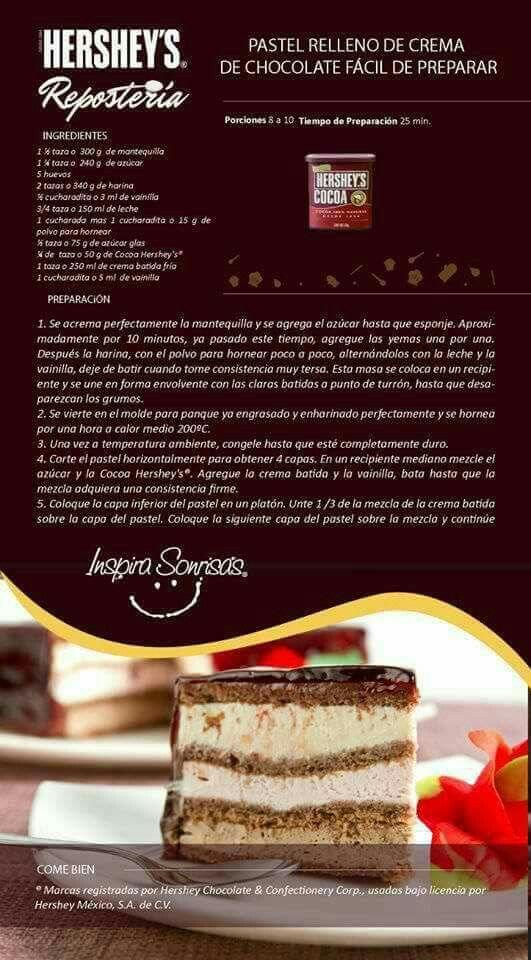 Pastel relleno de crema de chocolate