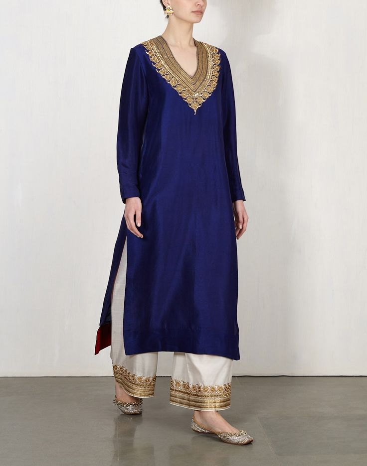 Blue Zardozi Kurta With Pants-Lajjoo C- img2