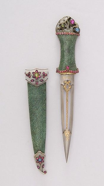 Dagger with Sheath Date: 18th century Culture: Indian Medium: Steel, shark skin, jade, gold, ruby, emerald, sapphire, silver