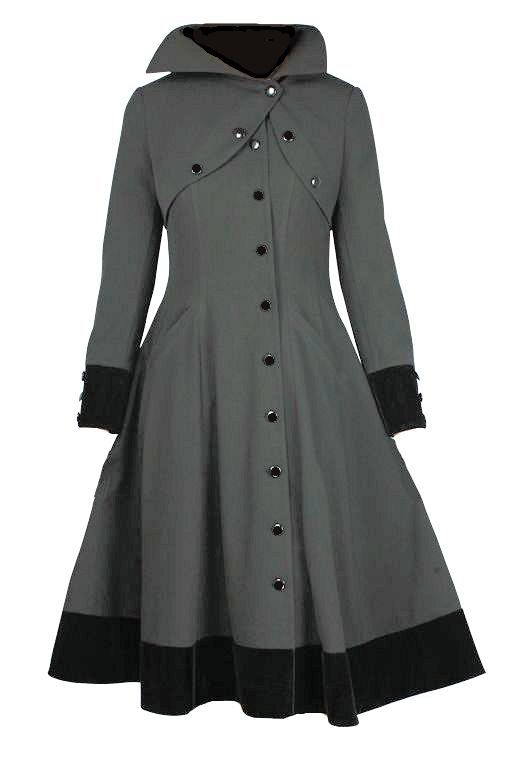 This coat has a fit and flare cut. The high collar is accented with buttons. The only working buttons are the ones that run from the neck on the faux shrug down the side of the coat. Asymmetric closure over the heart. Asymmetric hemline, two side pockets. The length comes down to below the knees. Wide button accent cuffs. Button front closure. Fully lined. 		 			  		 			  		 			Standard size approx. length: 43 inches; Plus size approx. length: 46 inches. 		 			MATERIAL: 		 			BODY 	...