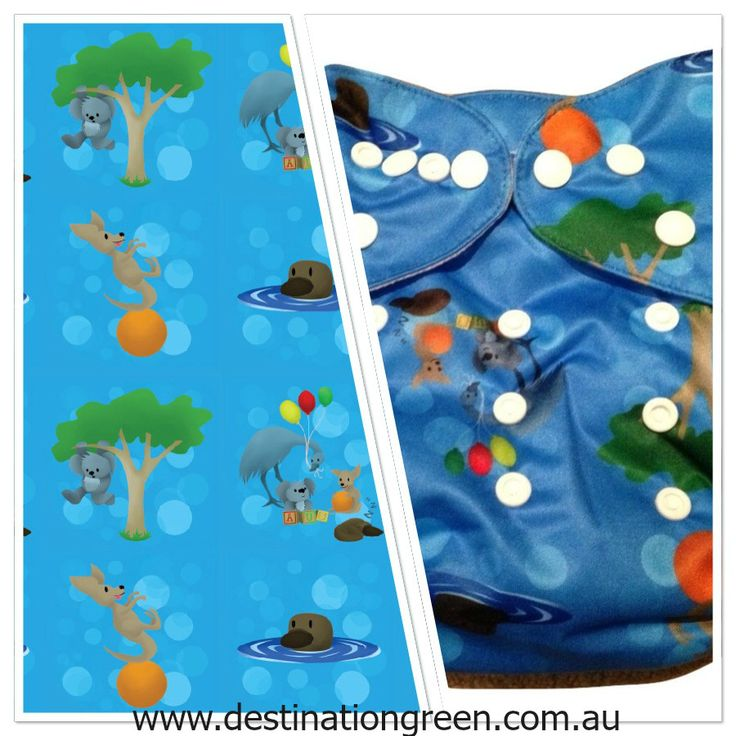 Modern Cloth Nappy - Aussie Animals platypus dark blue, $13.00
