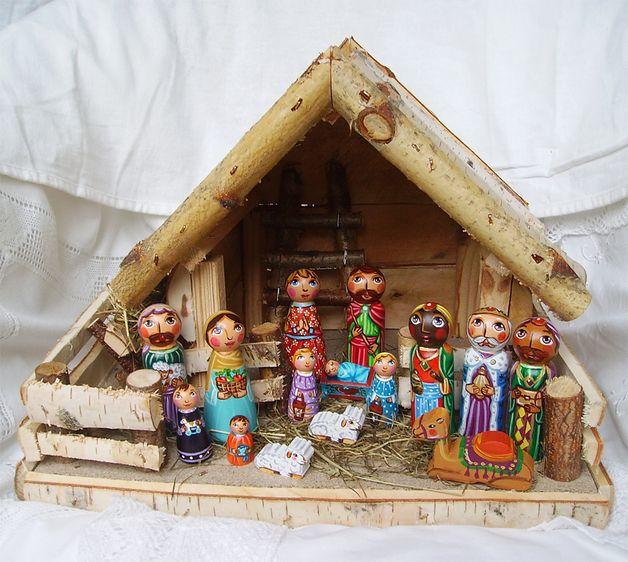 Krippen - Weihnachtskrippe Krippe Holzkrippe Krippenfiguren - ein Designerstück…