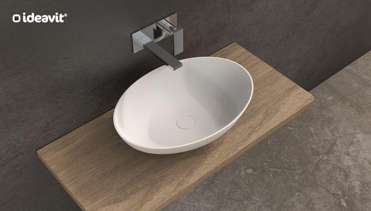 SOLIDTHIN-OV Freestanding washbasin Size : 600x400x145 mm Solid surfaces White matt Thin Edge 6 mm www.ideavit.com