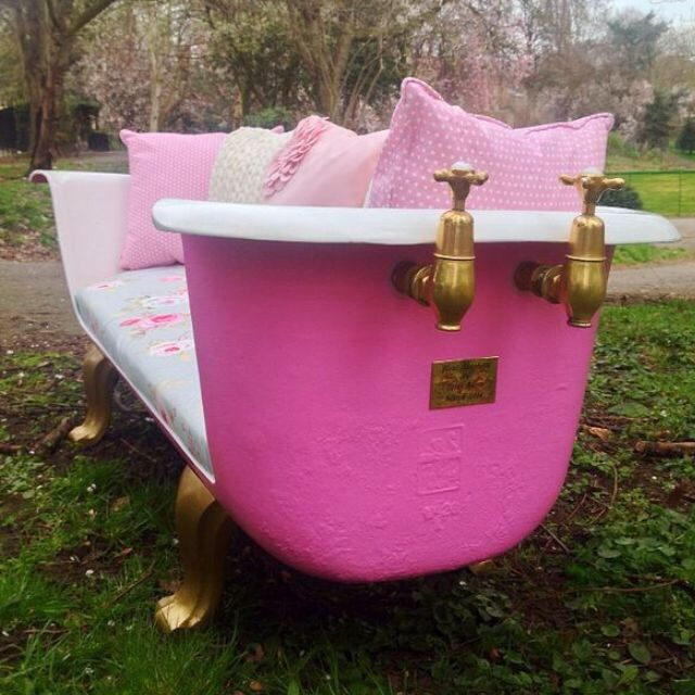 Upcycled roll top bath sofa seat!